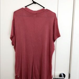Blush Tops - Ripped cross neck t shirt